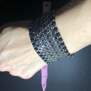 Black and Silver metal cuff bracelet